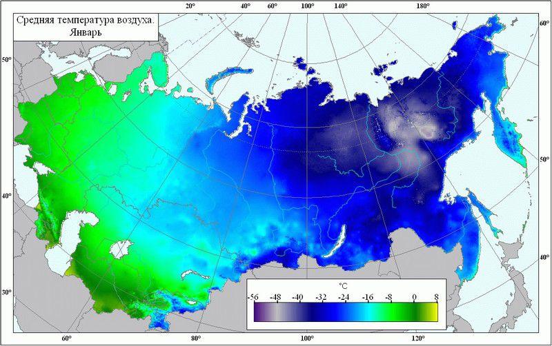 Карта-схема минимальных январских температур