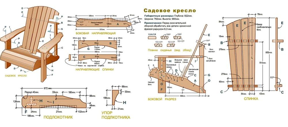 На схеме показаны чертежи для изготовления кресла