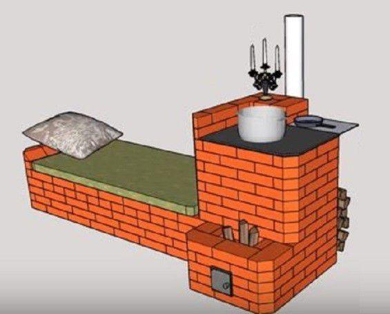 Наша задача - сложить из кирпича вот такую оригинальную печь-ракету с теплой лежанкой