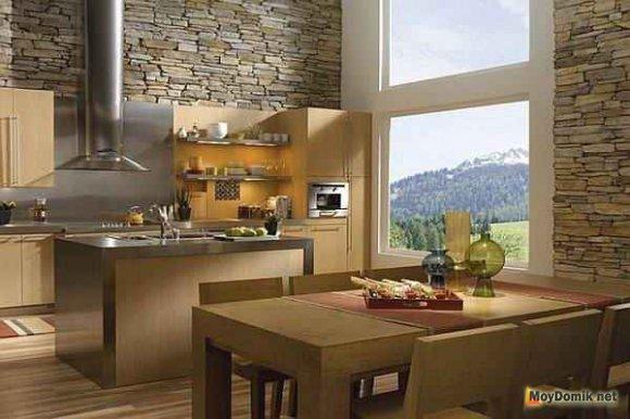 Декоративный камень из гипса в интерьере кухни