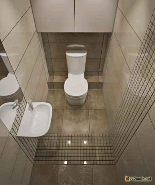 Комбинирование плитки в интерьере туалета