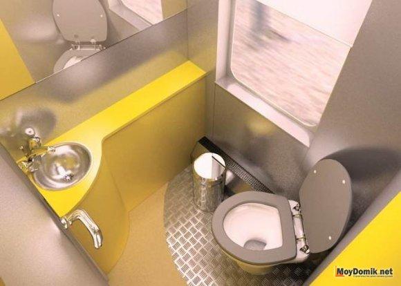 Дизайн интерьера маленького туалета в поезде