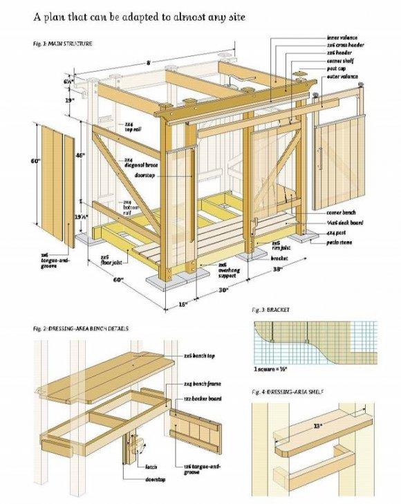 Деревянный душ для дачи - схема-чертеж