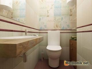 Интерьер туалета в пастельных тонах