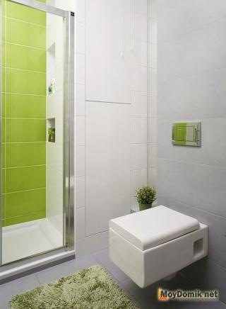 Интерьер маленького туалета в эко-стиле