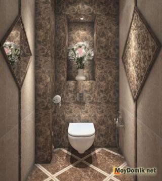 Интерьер туалета в пафосном стиле
