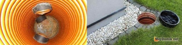 Вывод труб в смотровые колодцы