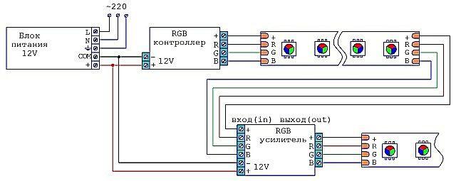 Примерная схема подключения светодиодной подсветки с запараллеленными участками