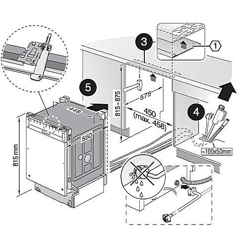 Пример схемы-инструкции по установке посудомоечной машинки встраиваемого типа