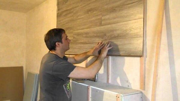 Как приклеить ламинат к стене