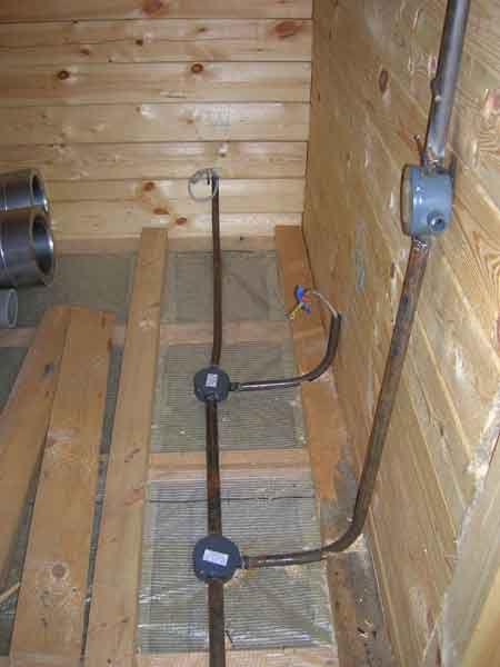 Провода прячутся в стальные или медные трубы