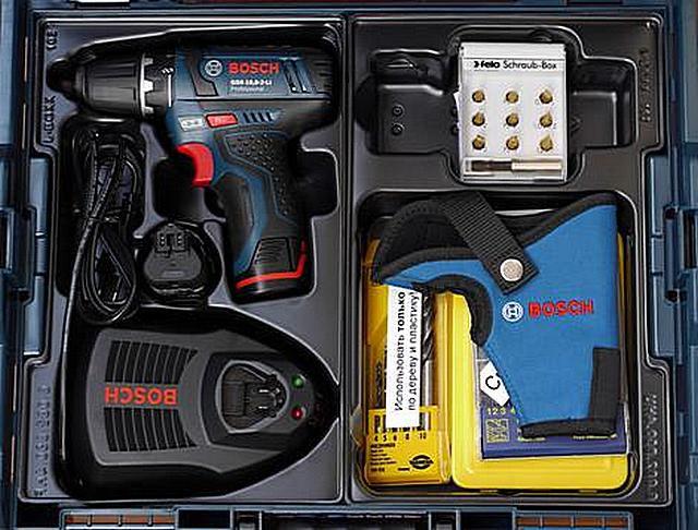Пример возможной комплектации шуруповерта «Bosch»
