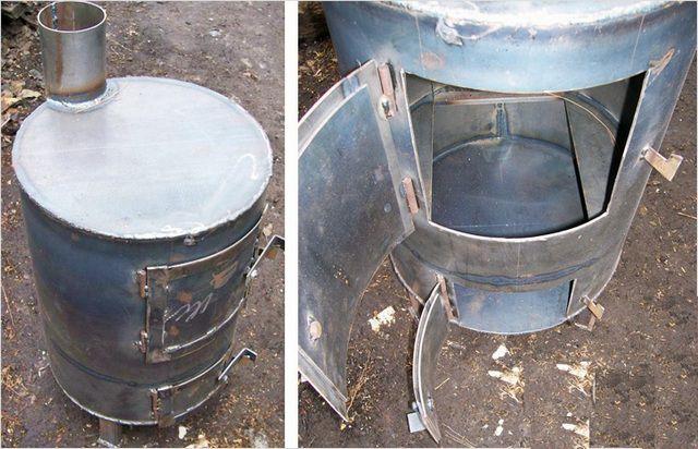 Вертикальная буржуйка из бочки или трубы большого диаметра