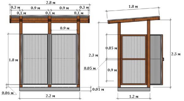 Чертеж душевой кабинки в двух проекциях