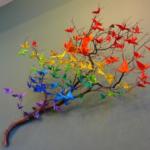цветное оригами на стену