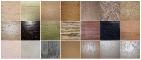 Варианты поверхности, которые можно сделать при помощи ОДНОГО состава, используя разные техники нанесения