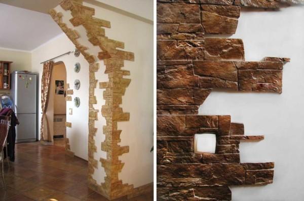 Оформление арки декоративным камнем и выключатель