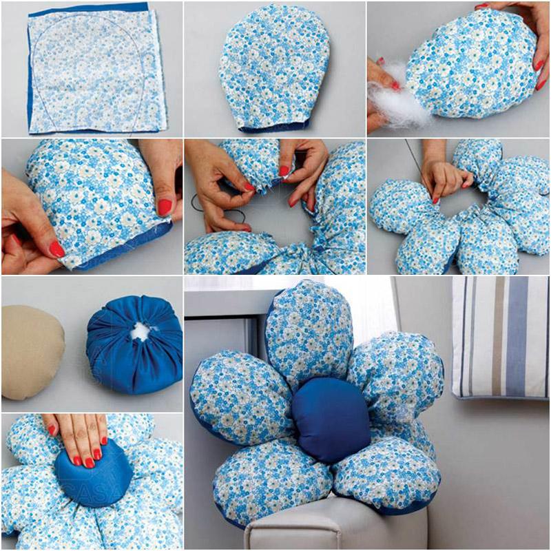 Последовательность работы по пошиву подушки-цветочка