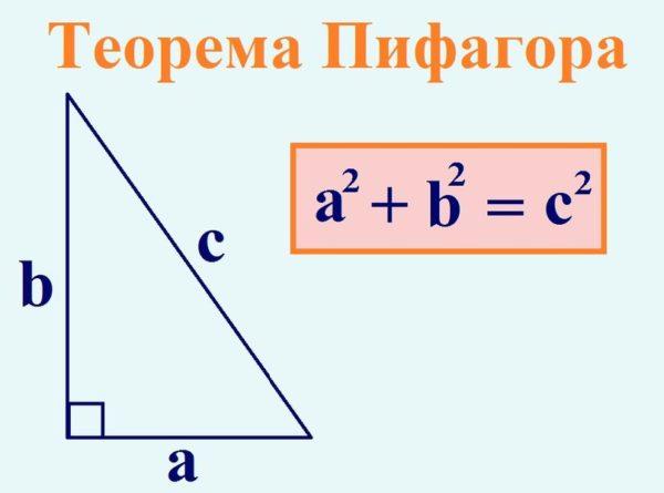 Длина косоура рассчитывается по теореме Пифагора