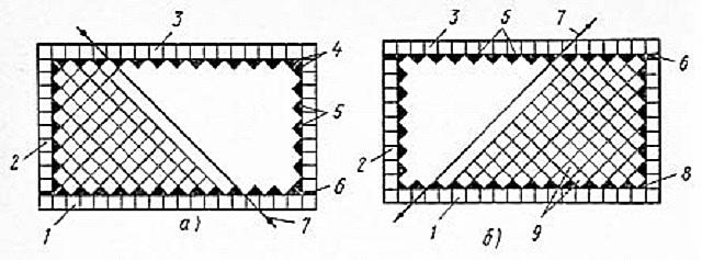 Две схемы диагональной укладки керамической плитки от угла