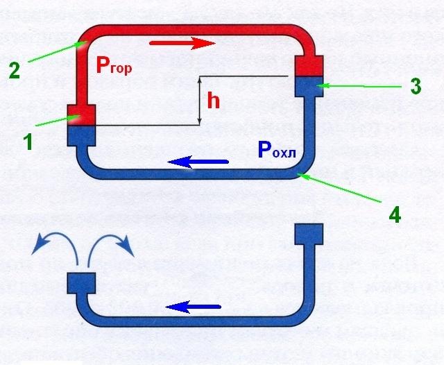 Схема, поясняющая принцип естественной циркуляции теплоносителя в системе отопления