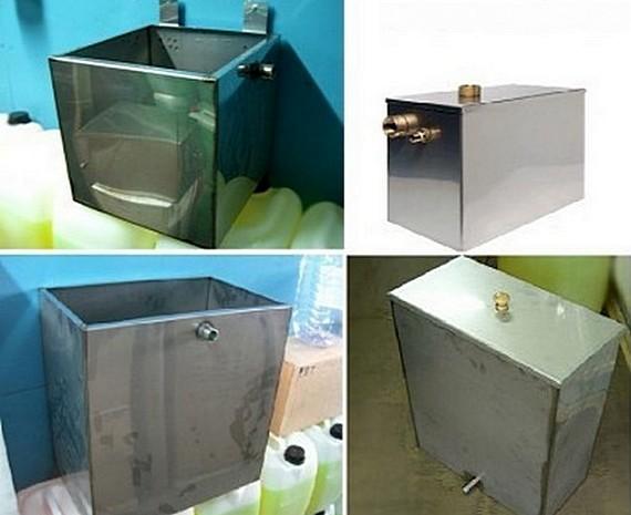 Несколько примеров расширительных баков открытого типа заводского и кустарного изготовления