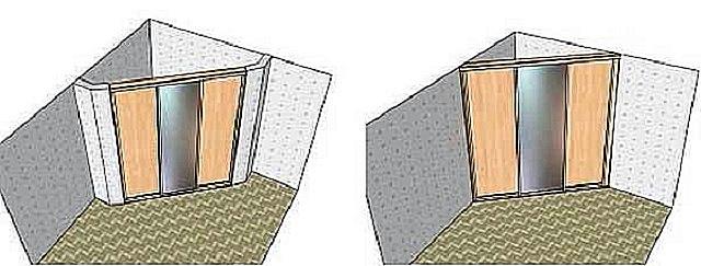 Варианты угловых перегородок при организации гардеробной.