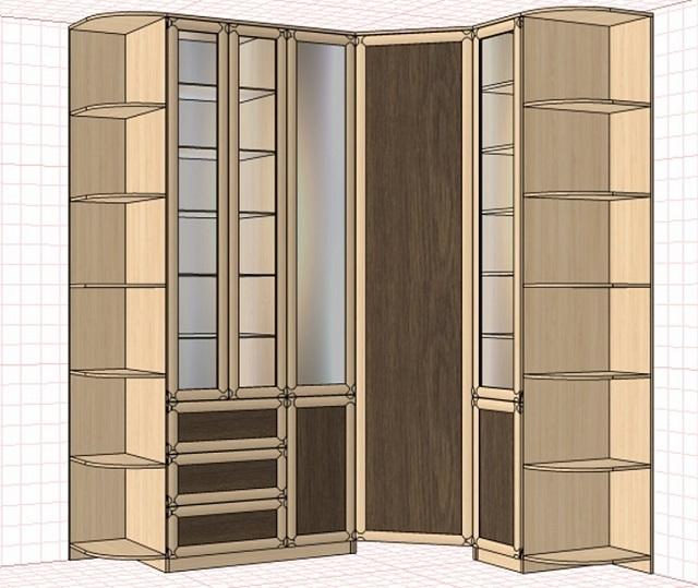 Угловой пристенный шкаф с гардеробной секцией. Отделы с открытыми взору полками несложно переделать под хранение предметов одежды.