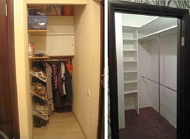Кладовка без окон, переделанная под гардеробную комнату.