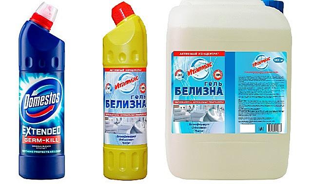«Доместос» и «Белизна» являются эффективными препаратами для удаления любой патогенной микрофлоры на поверхностях стен ванной комнаты.