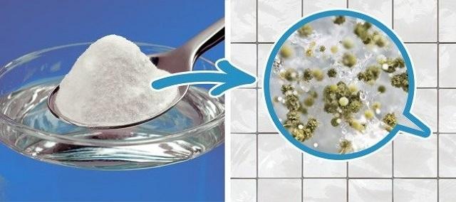 Сода и уксус могут справиться с плесневыми колониями, возникшими на швах между плиткой.