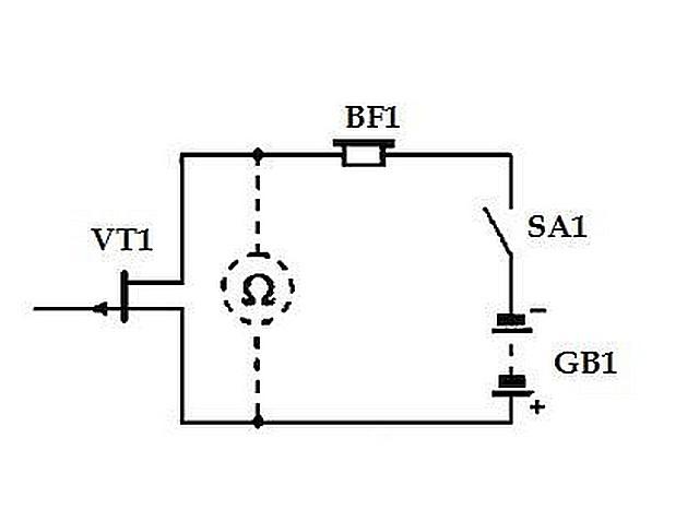Схема простейшего детектора на базе полевого транзистора