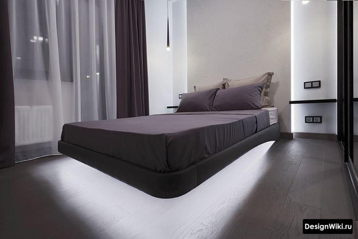 Хай-тек спальня с парящей кроватью