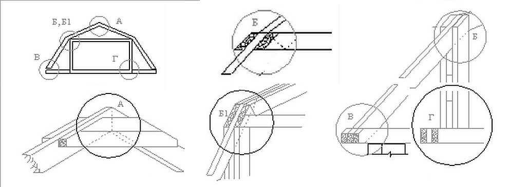 Как сделать соединение элементов стропильной системы ломаной крыши