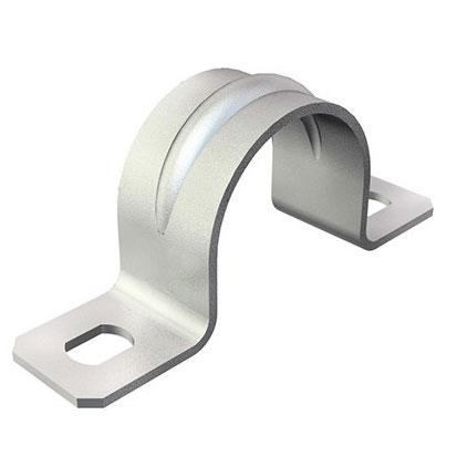 металлическая скоба под крепеж труб и гофрированной трубки