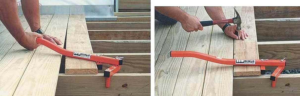 Фабричный вариант устройства для стяжки дощатого пола