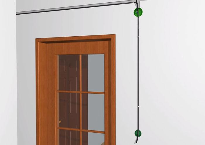 кабель от распредкоробки до диммера на стене