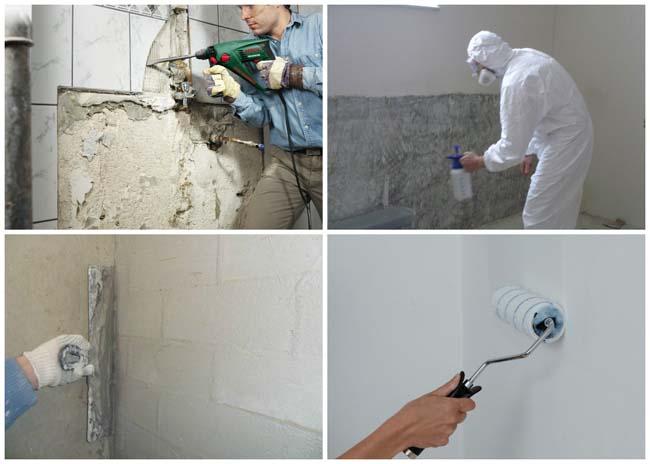 важный этап пожготовка поверхности стен и пола в кухне