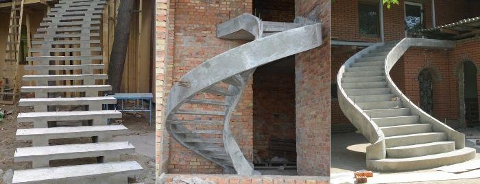 Различные формы бетонных лестниц