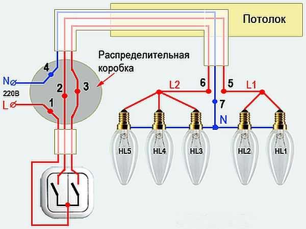 Схема подключения проводов для двухклавишного выключателя