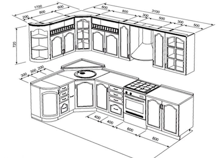 дизайн проект расстановки кухонной мебели