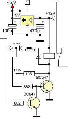 Электрическая часть схемы, позволяющая включать отключать агрегаты большой мощности