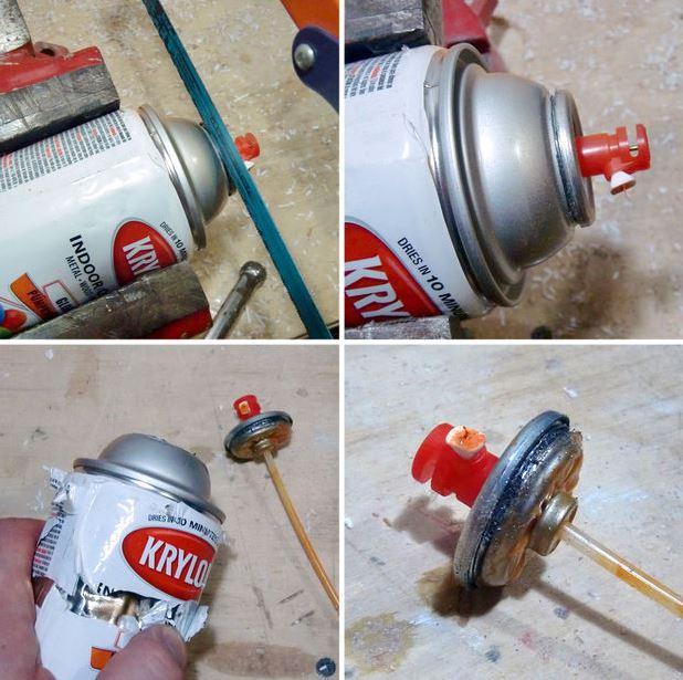 Снимаем клапан с аэрозольного баллончика