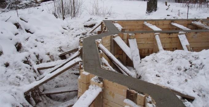 Бетон в опвлубке зимой