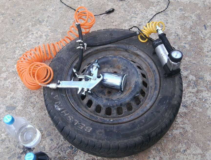 колесо автомобиля вместо ресивера