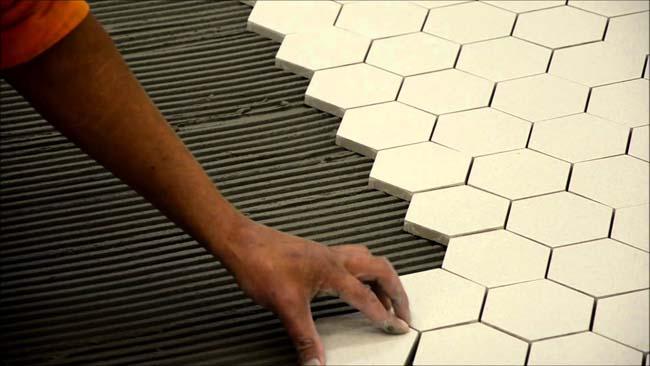укладка шестигранной плитки на пол