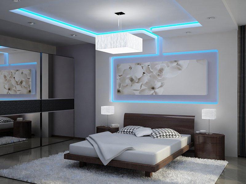 Восхитительный дизайн спальни с использованием светодиодной ленты