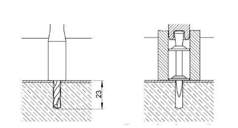 монтаж крепежа по технологии DX Kwik с засверливанием