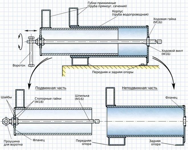 Инструкция по изготовлению тисков: вариант №2