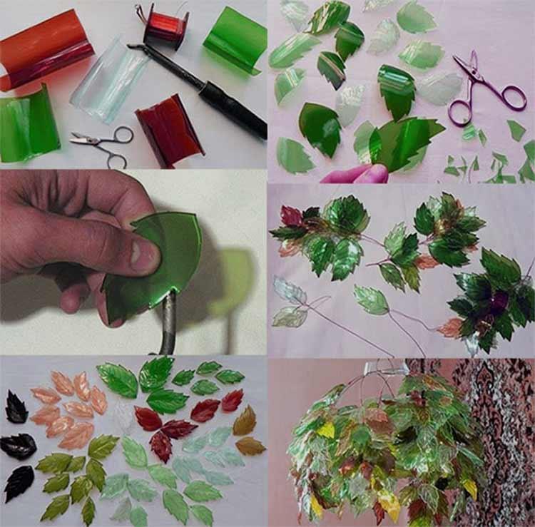 Люстра из пластиковых бутылок в виде листьев